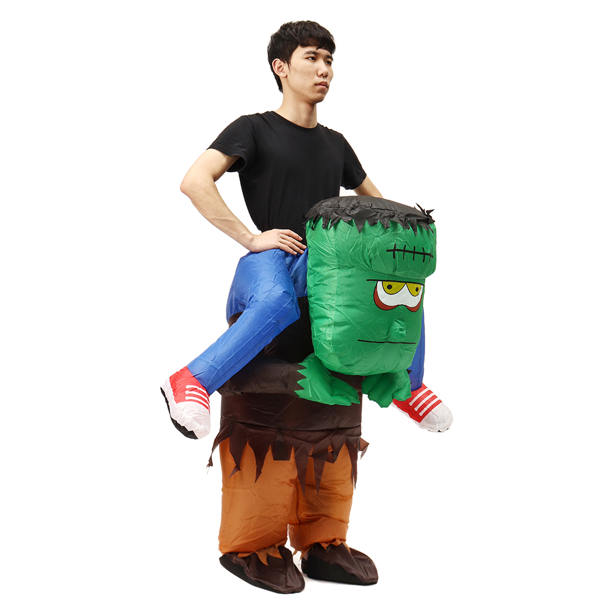 Adult Frankenstein Costume Scary Halloween Fancy Dress Inflatable Blow Up Suit