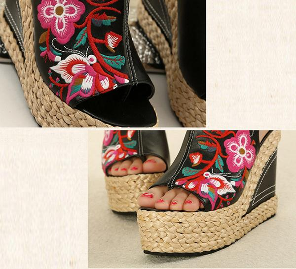 New Women Straw Retro Heeled Comfortable Embroidered Shoes Summer Outdoor Wedge Sandals Shoes