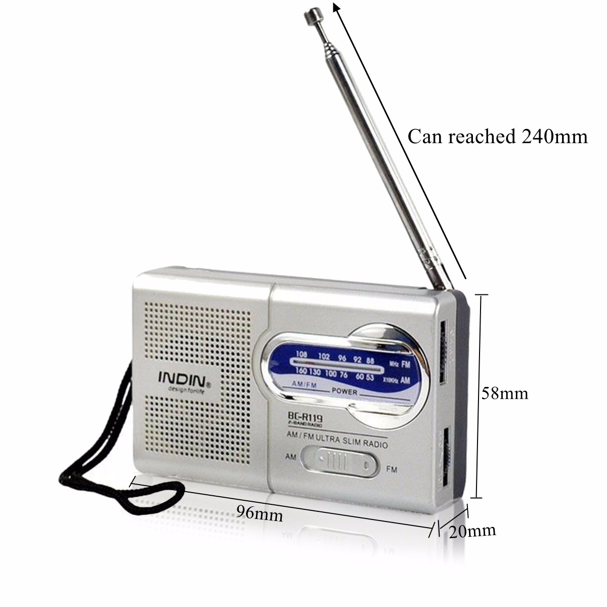 INDIN BC-R119 Universal Pocket AM FM Receiver Radio Antenna Built in Speaker