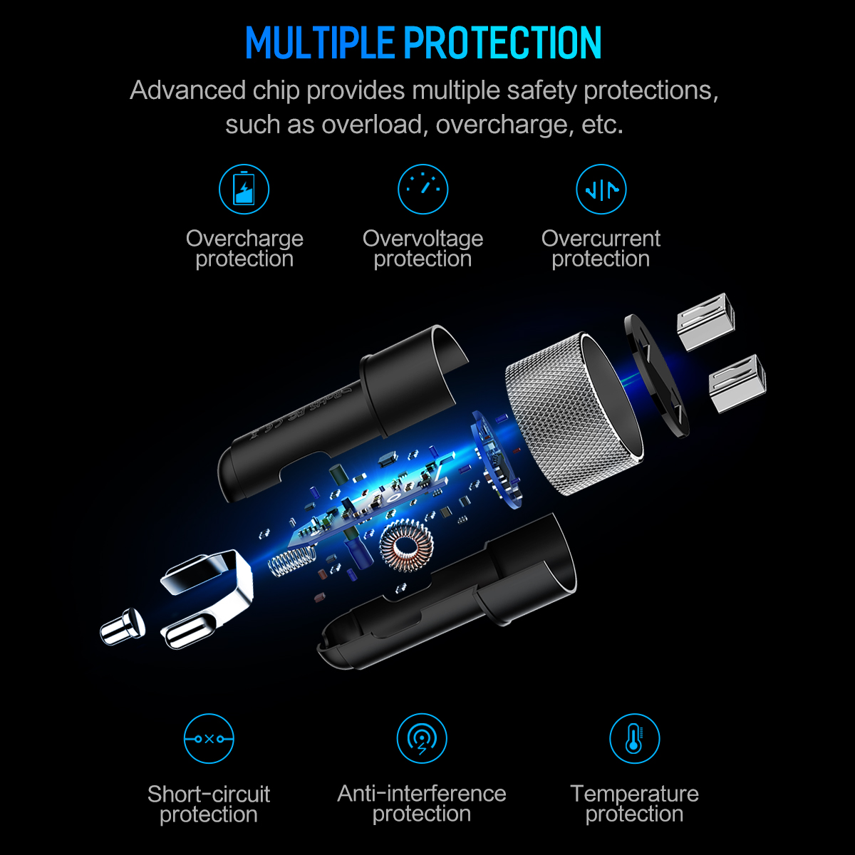ROCK Sitor 3.4A LED Real-time Monitor Dual USB Fast Car Charger For Mobile Phone Tablet Camera