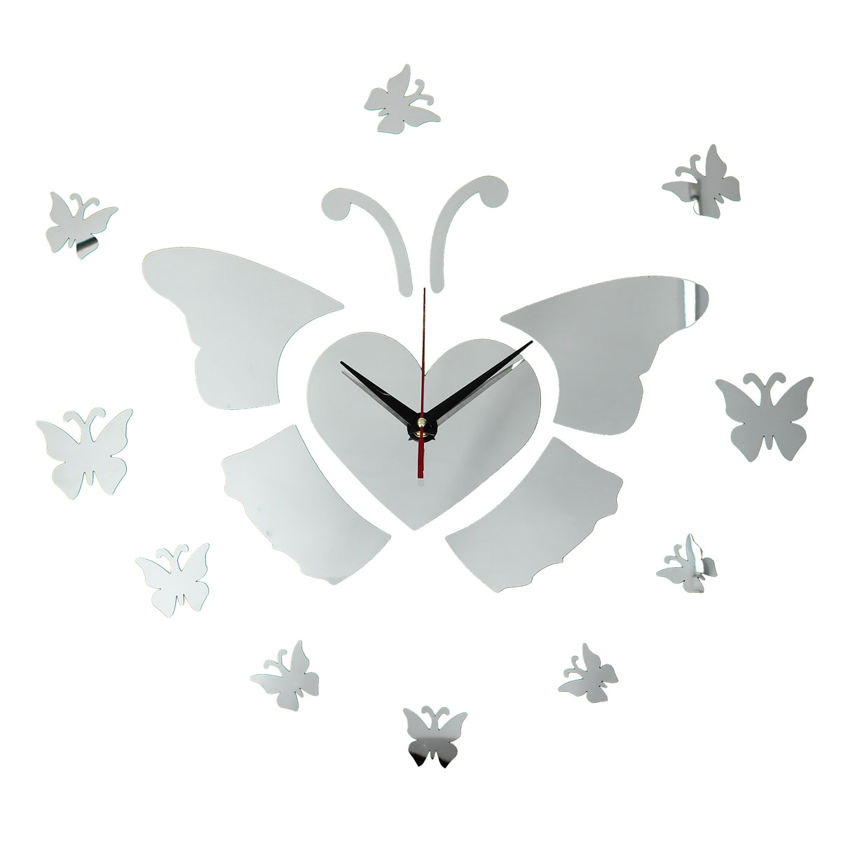 DIY 3D Flying Butterfly Wall Clock Mirror Acrylic Home Decor