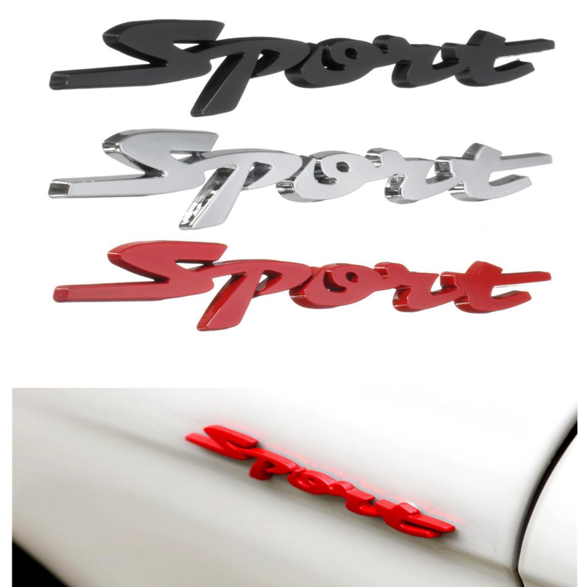 3D Chrome Sport Logo Emblem Badge Metal Decals Sticker Red/Silver/Black for Car Motor Racing
