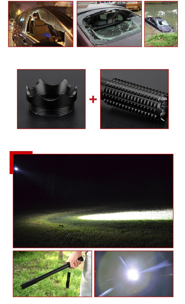 DANIU Outdoor Emergency Anti Wolf Self Defense Tools Torch Lamp Powerful Emergency Defensive Lamp with LED Flashlight