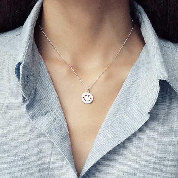 S925 Silver Simple Sweet Smiling face Clavicle Chain Bestie Girl Necklace