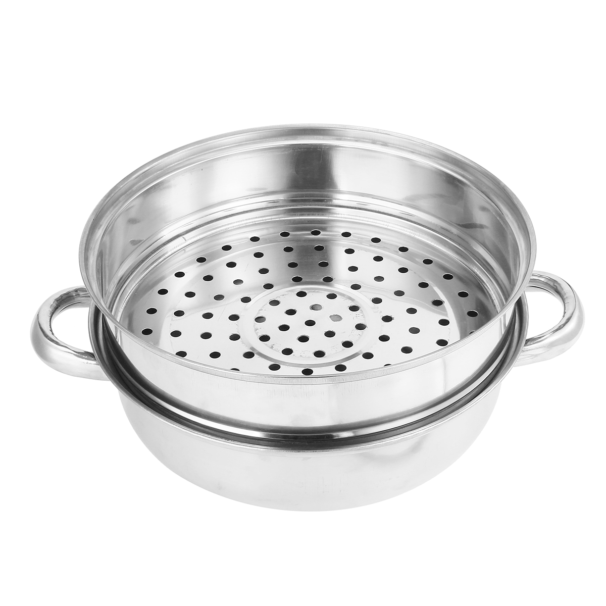 2 Tier 27.5cm Stainless Steel Food Steamer Pot Pan Vegetable Cooker Glass Lid