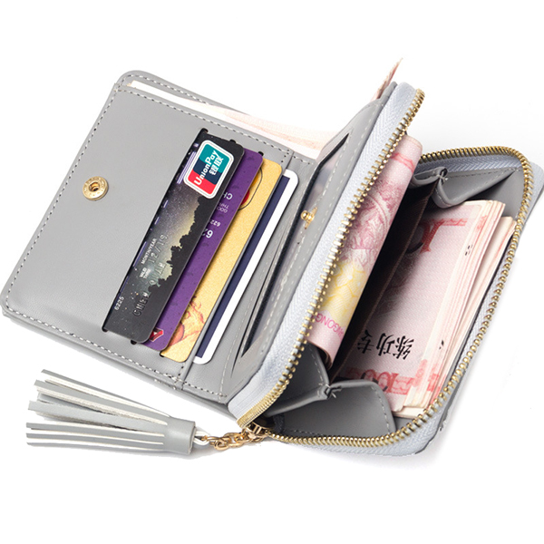 Baellerry Women Tassel Zipper Short Wallets Candy Color Bifold Purse Card Holder Coin Bags