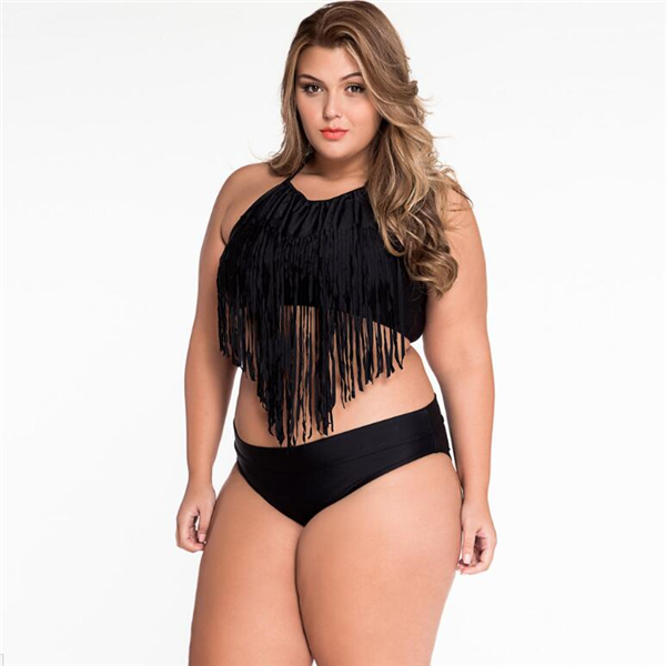 Summer Women Sexy Bikini Split Fringe Push Up Plus Size Swimwear High Wisted Bathing Suit