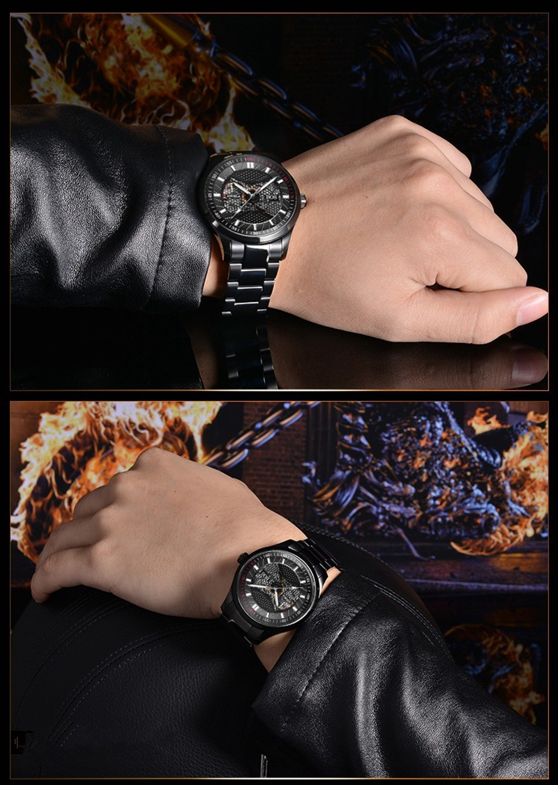 ANGELA BOS 9015 Mechanical Men Watch Black Carve Dial Self Wind Stainless Steel Luxury Wrist Watch