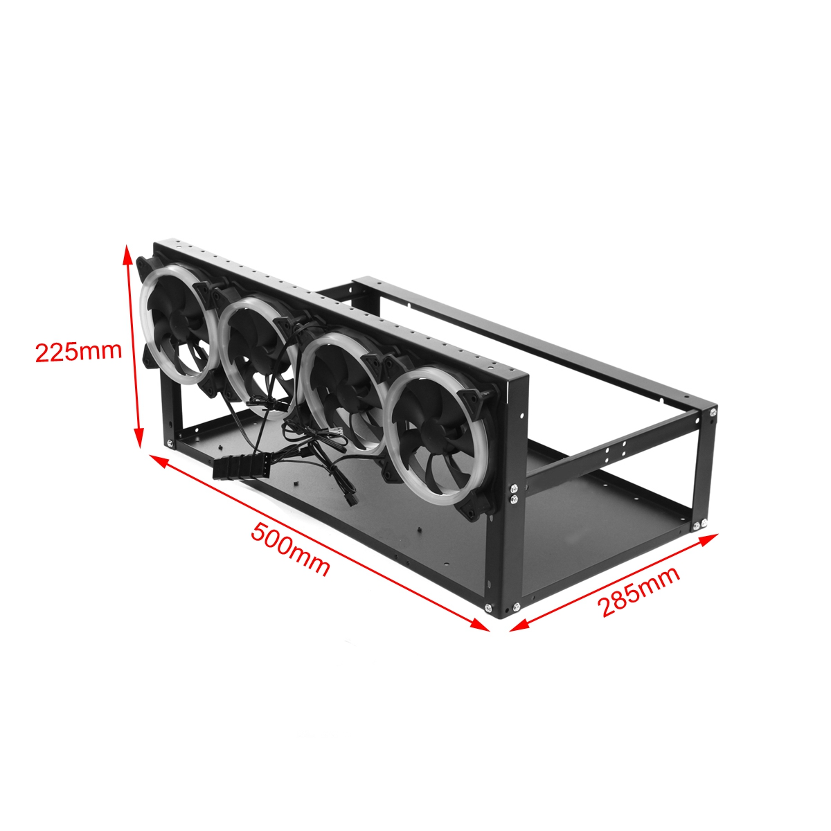 6 GPU Mining Machine Case Mining Rig Frame Aluminum Stackable Case with 4 Fans Open Air Frame