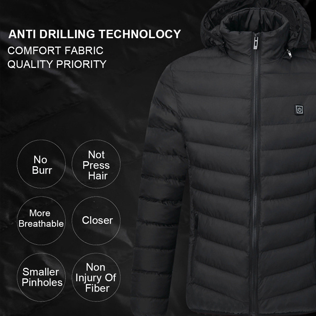 Mens USB Heated Warm Back Cervical Spine Hooded Winter Jacket Motorcycle Skiing Riding Coat Women