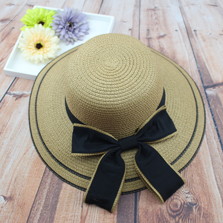 Women Girls Straw Floppy Black Bowknot Cotton Hat Summer Beach Sunshade Cap