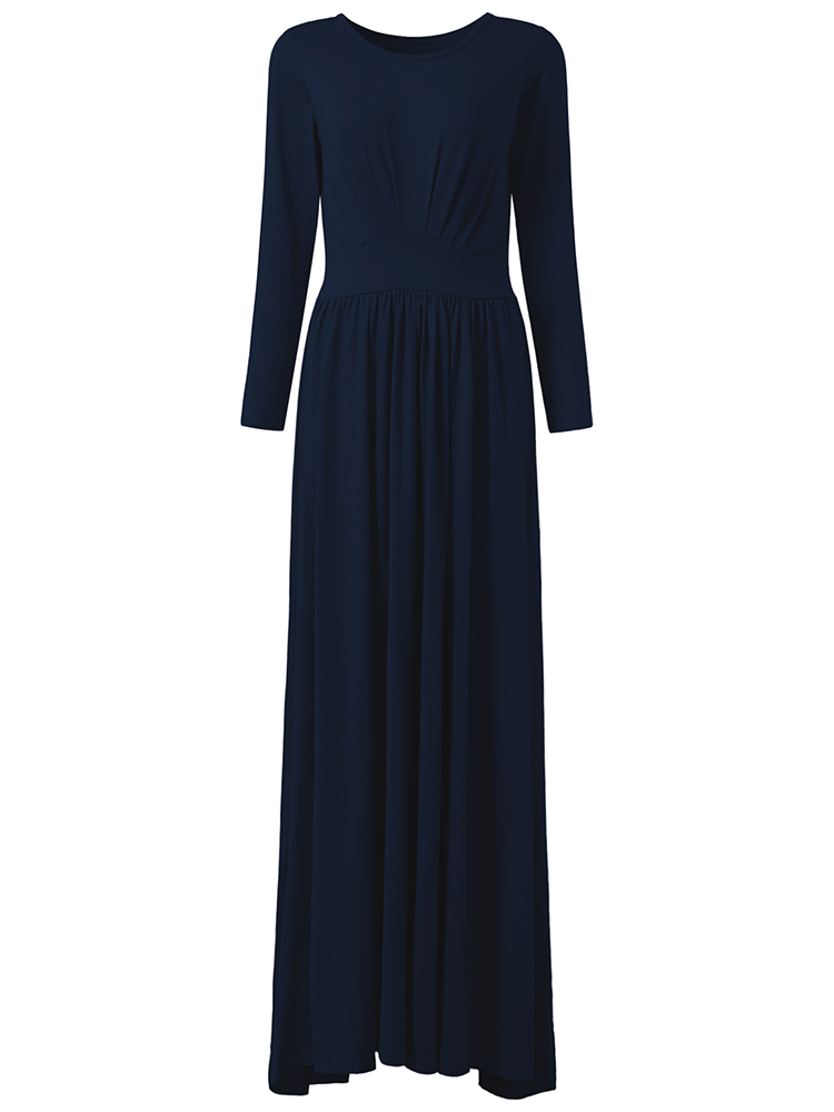 Elegant Women O-neck Long Sleeve Solid Color High Waist Maxi Dress
