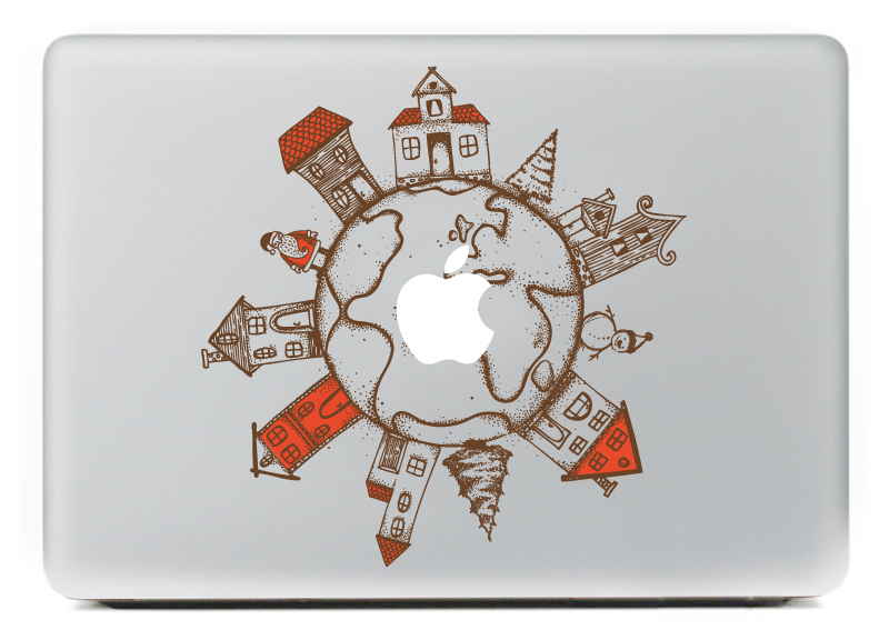 PAG Earth Decorative Laptop Decal Removable Bubble Free Self-adhesive Partial Color Skin Sticker