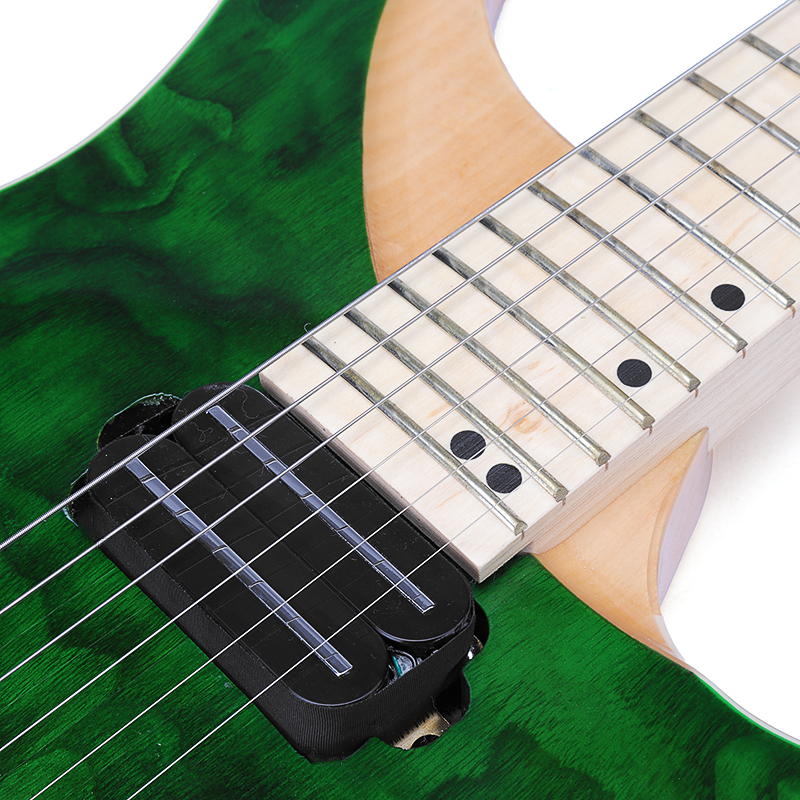 24 Fret Green ASH Wood Body Maple Neck Solid Flame Maple Fingerboard Electric Guitar