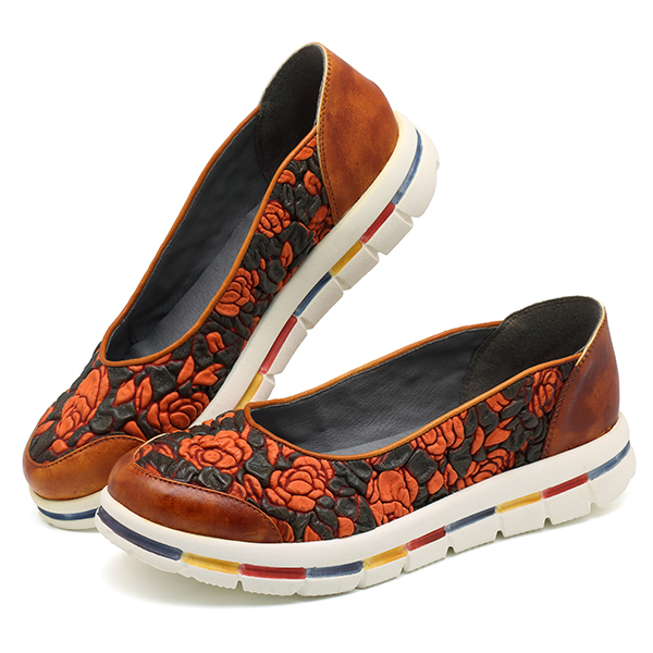 SOCOFY Casual Flowers Stitching Flats