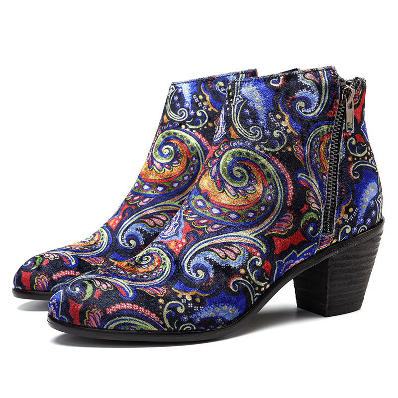 SOCOFY Pattern Velvet Cloth Ankle Boots