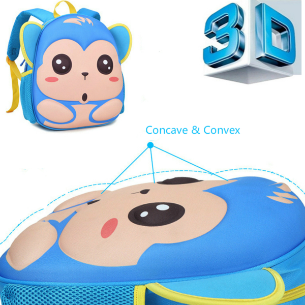 Waterproof 3D Animals Kids Bags Cartoon Monkey Kindergarten Baby Backpack School Bag