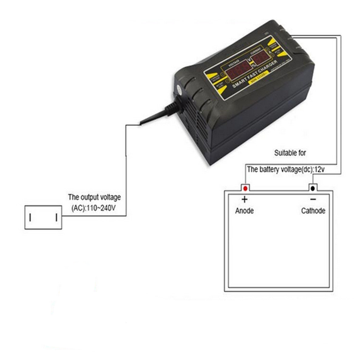 Digital LCD 12V 6A Smart PWM Lead Acid Battery Charger Cable For Car Motorcycle