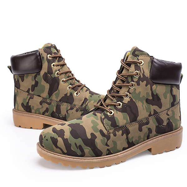 Warm Cotton Winter Lace Up Round Toe Short Boots For Men