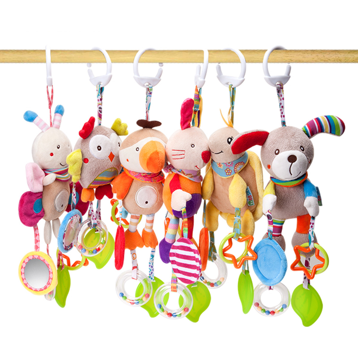Pet/Dog/Puppy/Baby Teethers Pendant Toy Rattle Bed Bell Cute Cartoon Animal Wind Chimes Bed Car Hang
