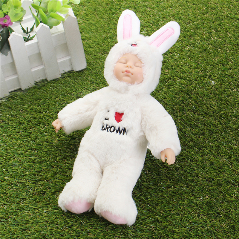 25cm Cute Rabbit Clothe Newborn Sleeping Soft Vinyl Reborn Baby Doll Gift Toy