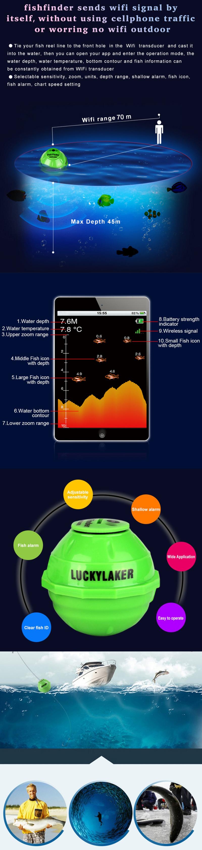Wifi Fish Finder Sonar Wireless 50M/130ft Sea Fish Detect Sea Lake Fishing Tool