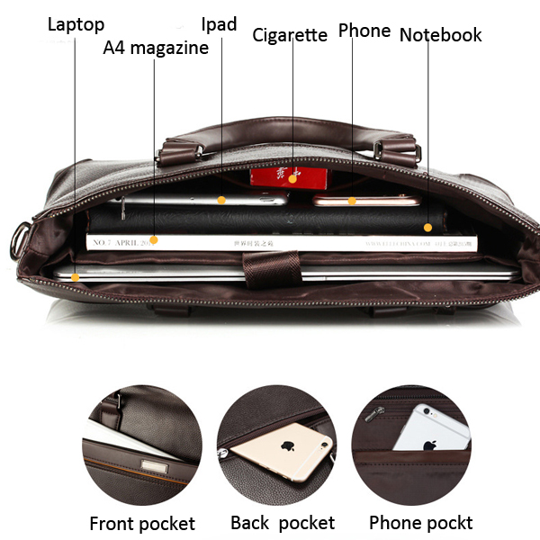 Men PU Leather Business Briefcase Laptop Bag Messenger Bag Handbag Work Bag