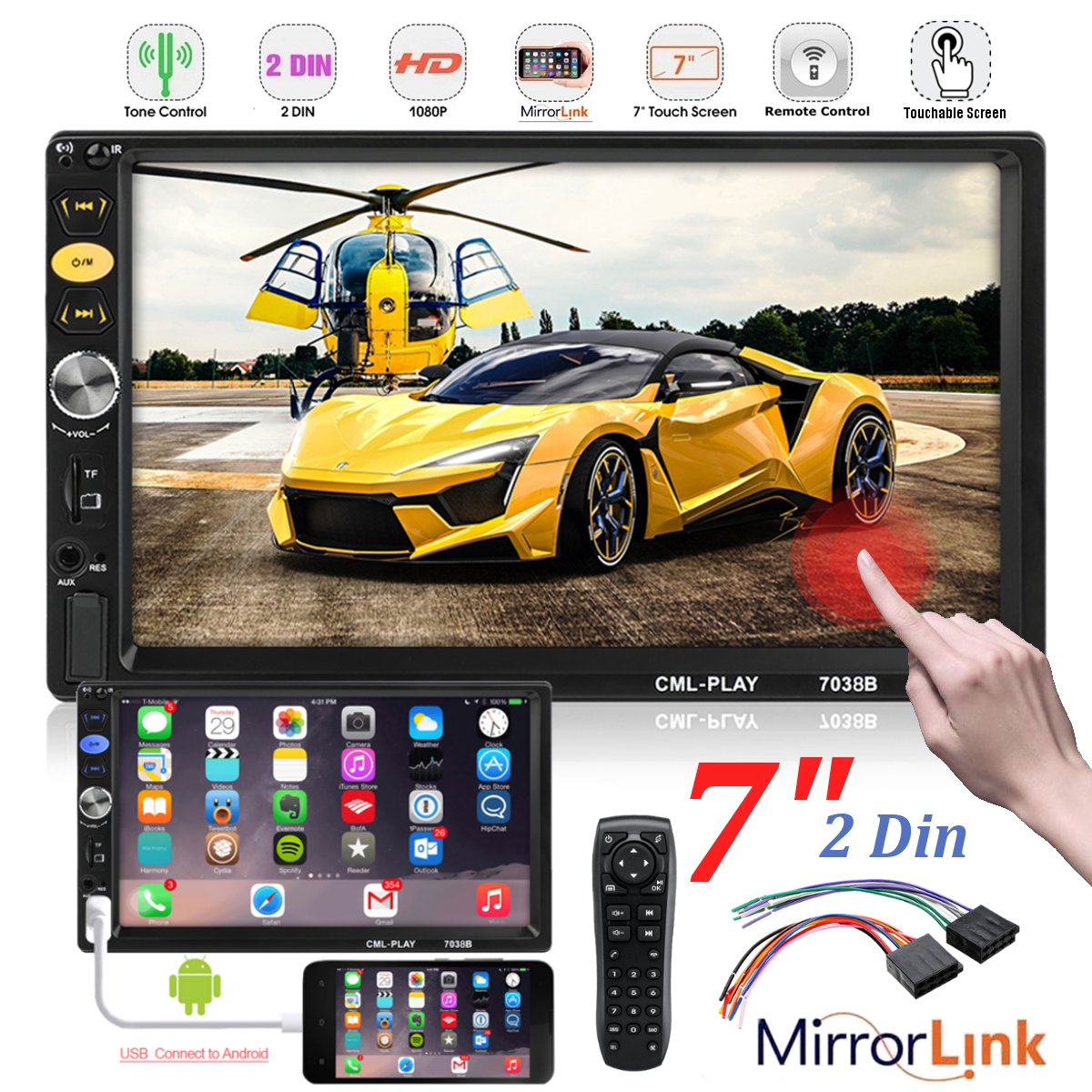 7Inch 2 DIN HD Car MP4 MP5 Player FM Radio Stereo Touch Screen USB AUX bluetooth In Dash