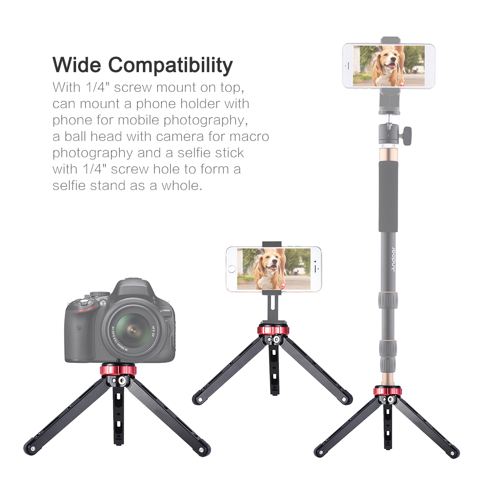 VELEDGE MT-01 Portable Aluminum Tabletop Tripod Mini Photography Bracket for Cameras for Smartphones