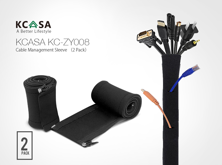 KCASA KC-ZY008 Cable Management Sleeve 2 Pack Black Cable Organizer Flexible Cord Management Cover