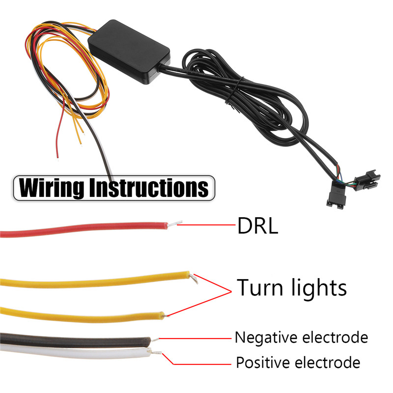 12V Sequential Flowing Water Flash LED Strip Turn Lights Red Amber
