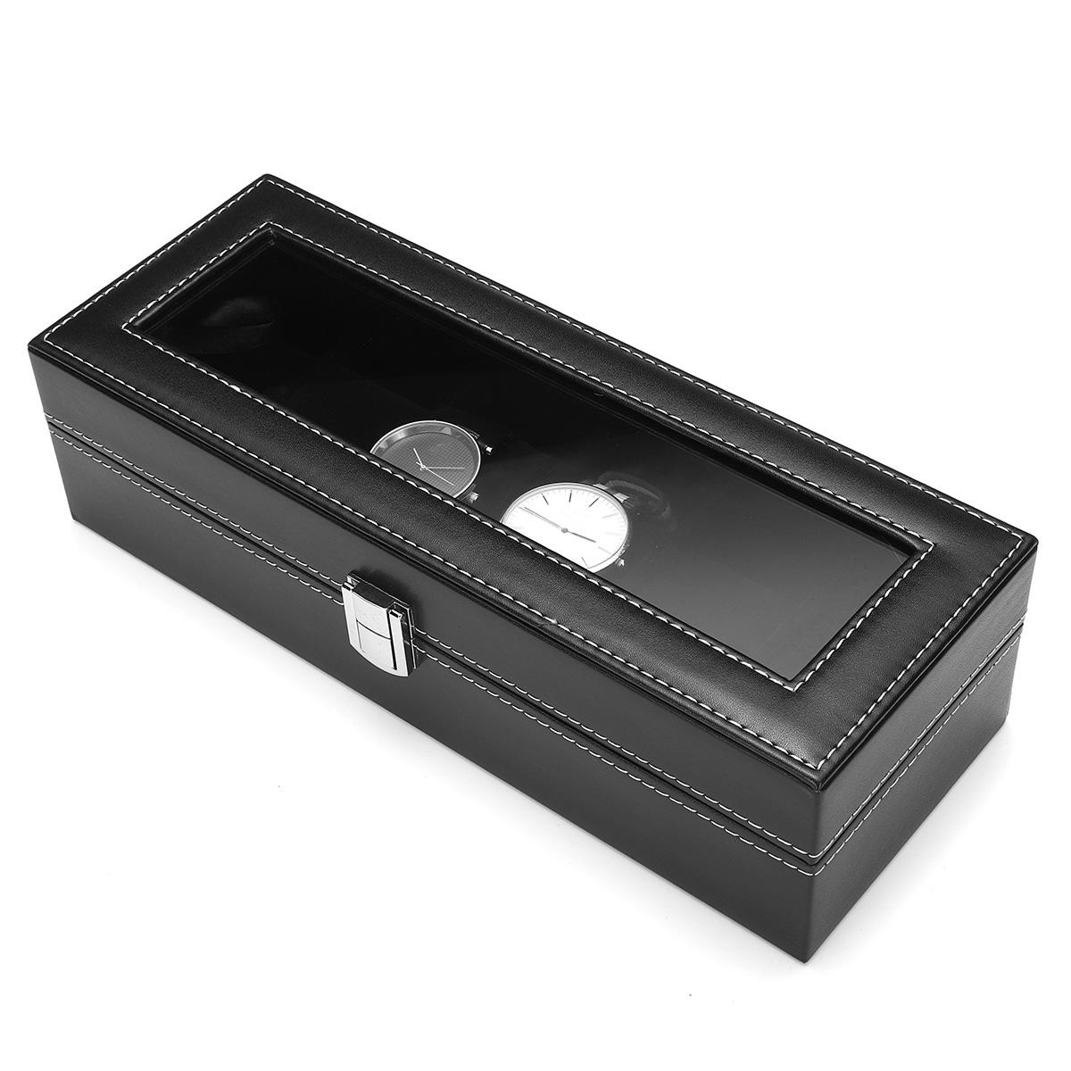 6 Slots Black Velvet PU Leather Watch Jewelry Display Box