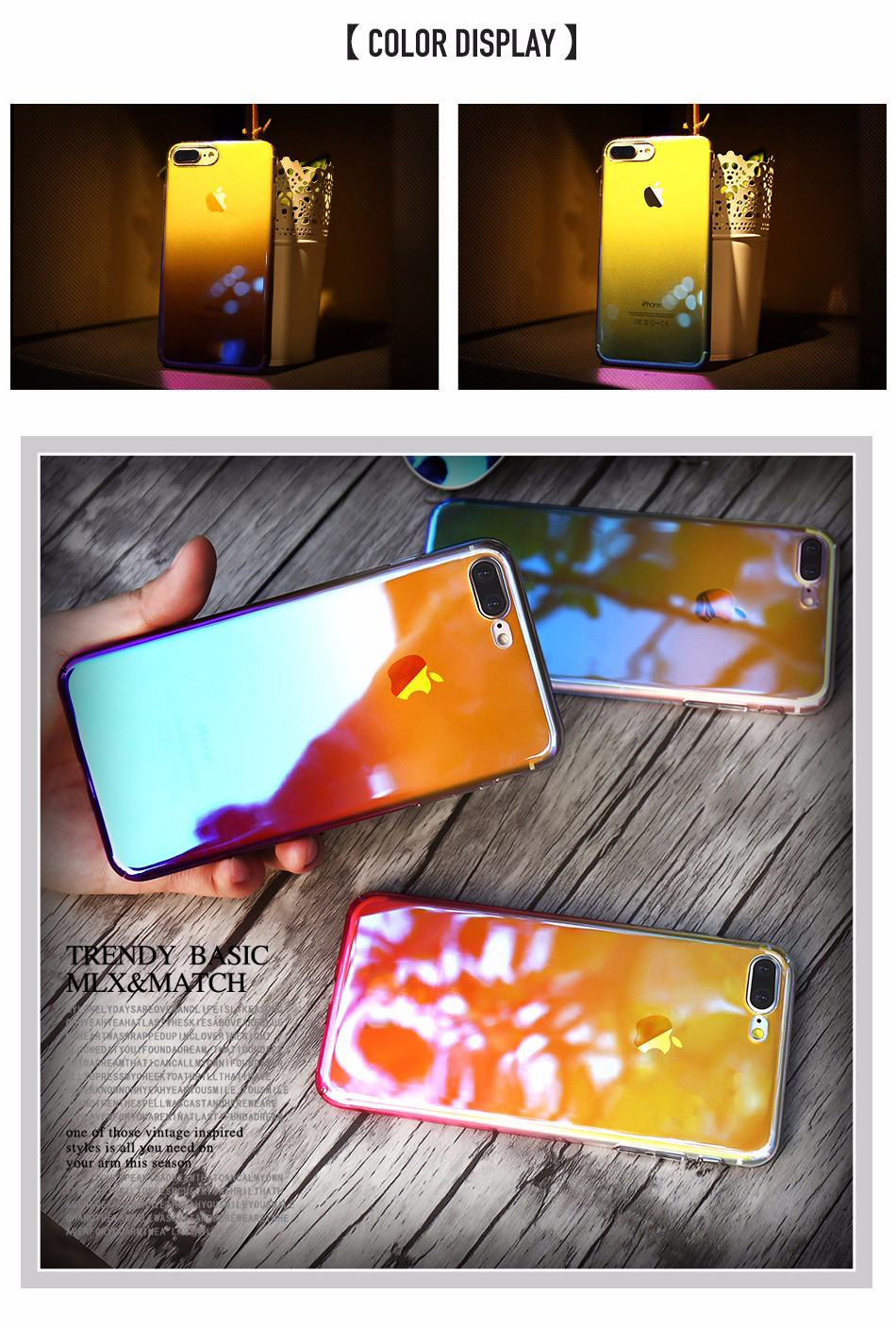 Bakeey Color Gradient Transparent Hard PC Case For iPhone 7 & 8