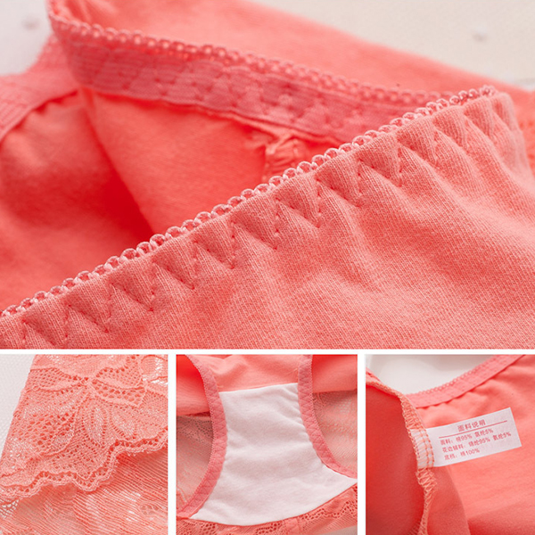 Soft Perspective Cotton Lace-trim High Waisted Hip Lifting Breathable Panties