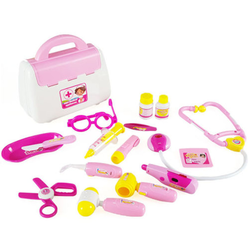 Pink 15Pcs Doctor Medical Set Toy Nurse Carry Box Kid Role Play Pretend Kit Case