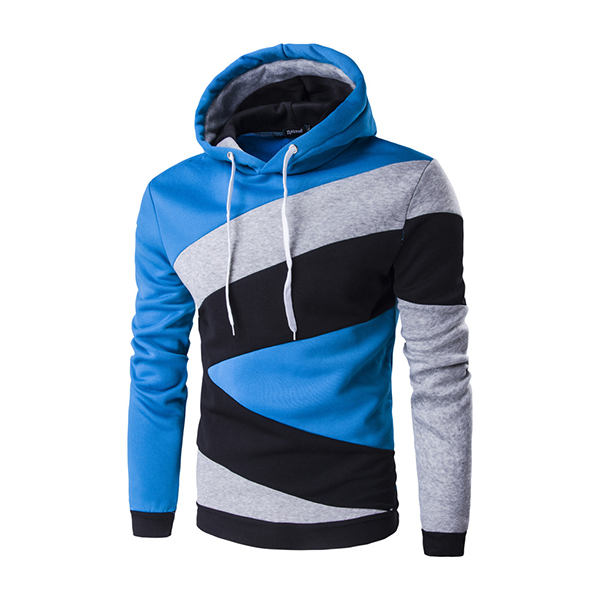 Mens Casual Fleece Spell Color Pullover Hoodies Long Sleeve Hooded Sweatshirt