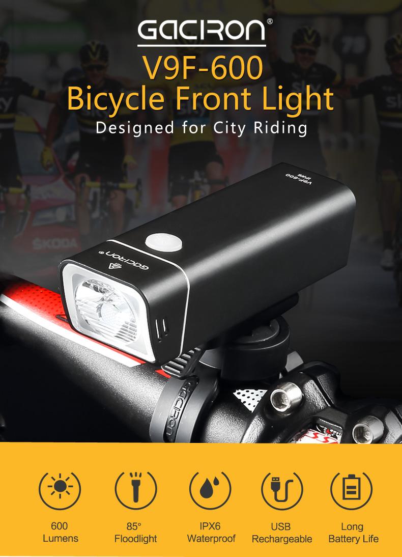 GACIRON V9F-600 600LM XGP3 LED 5 Modes 250mAh USB Charging Internal Battery IPX6 Bike Light