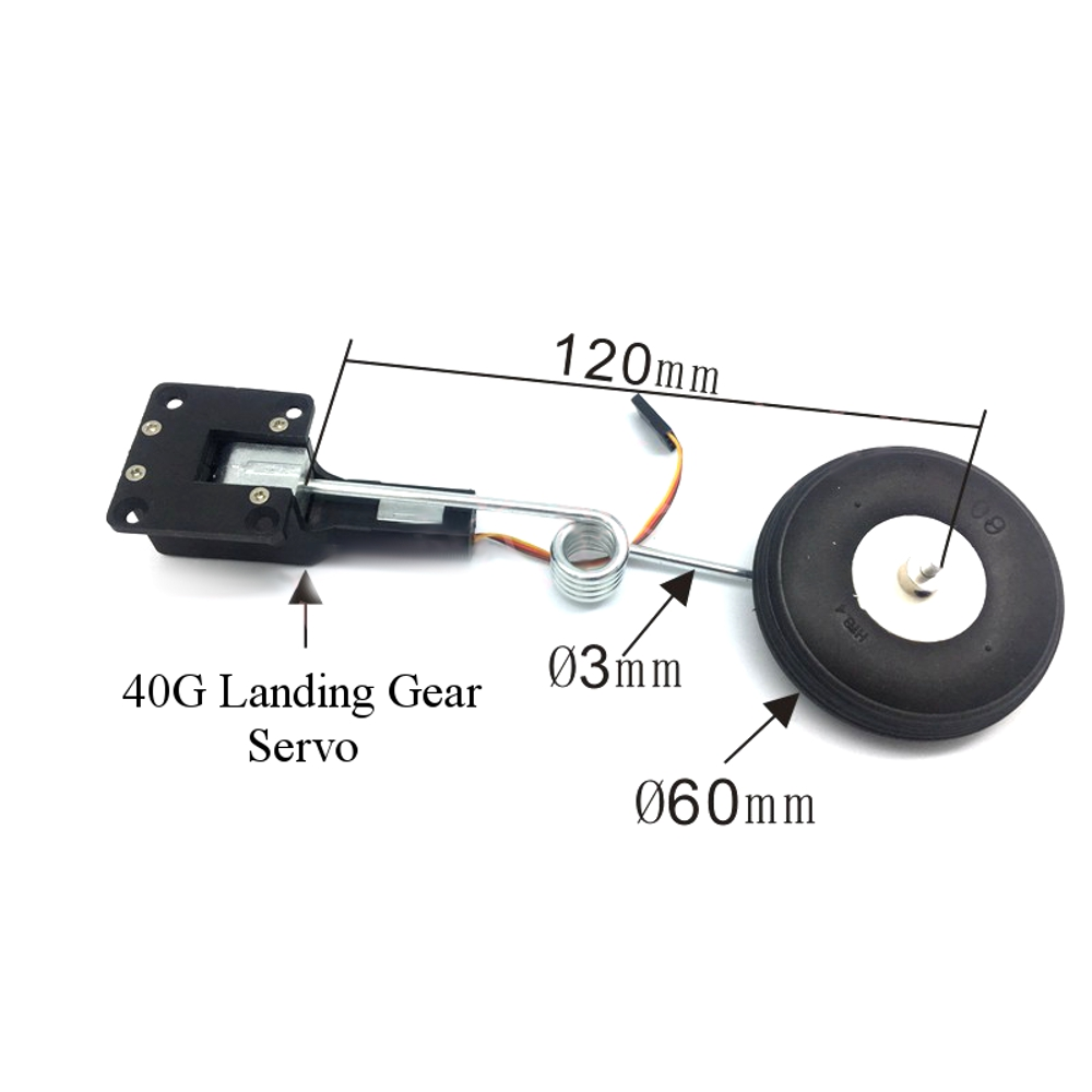 40G Digital Servoless Metal Electric Retractable Landing Gear With Wheel for RC Airplane KTK