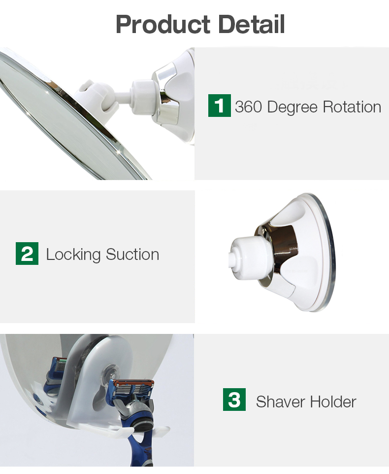KCASA KC-BM200 Fogless Shave Bathroom Shower Mirrors with Locking Suction and 360 Degree Rotating