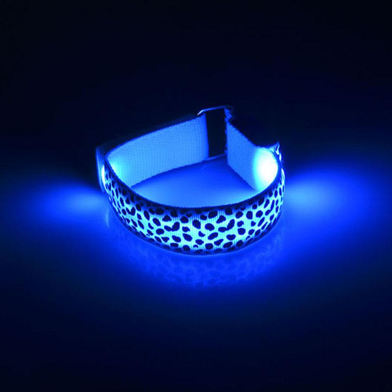 Leopard Hand Strap Wristband LED Reflective Light Shine Flash Glowing Luminous Armband Bracelets Wrist Holiday Biking Light