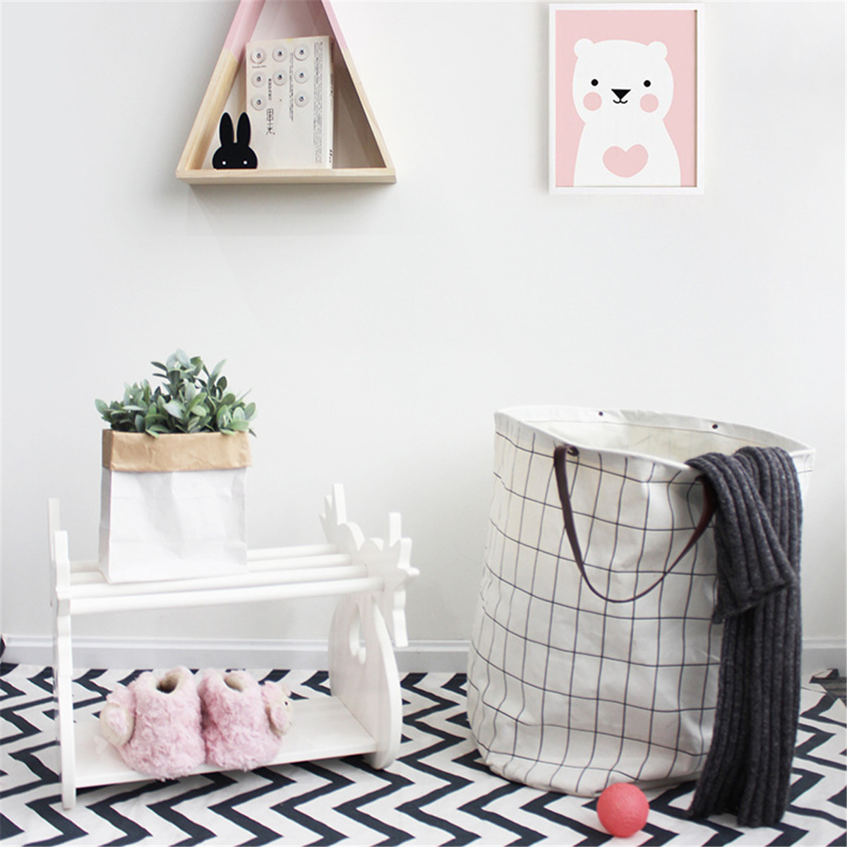 Description: Useful Canvas Laundry Storage Bag Baby Kids Toys Container Basket Leather Handle Made of canvas material, durable. You can use it to decor your livingroom. It can be used for kids to storage their toys. This bag can be used to hold dirty clot #handbag