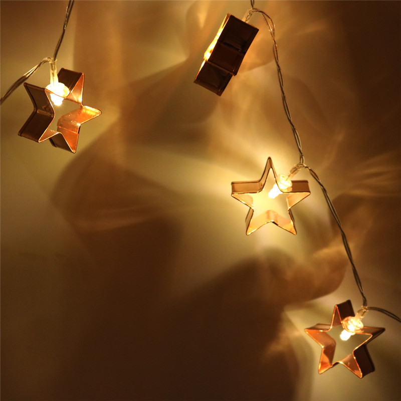 10 LED Fashion Novelty Metal Star Fairy String Lights Holiday Wedding Garden Party Lighting Decorations LED Iron Stars Light String Decorative Modeling Lantern