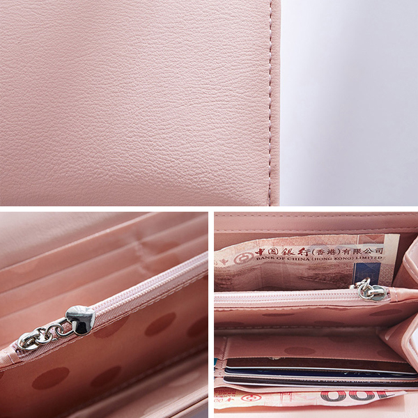 Women Pu Leather Casual Long Wallet Credit Car Holder