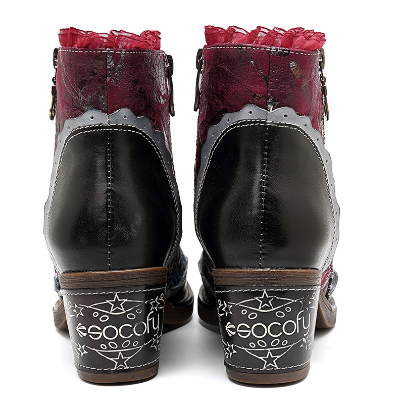 SOCOFY Women Genuine Leather Ankle Boots