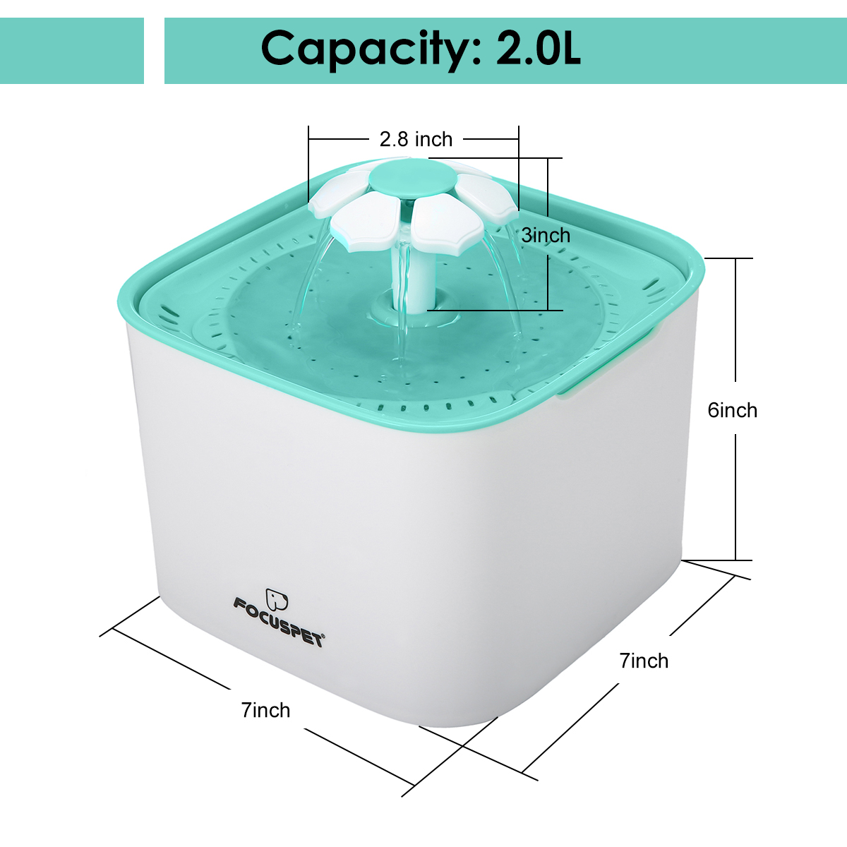 Pet Fountain Cat Water Dispenser - Healthy and Hygienic Drinking Fountain 2L Pet Bowl