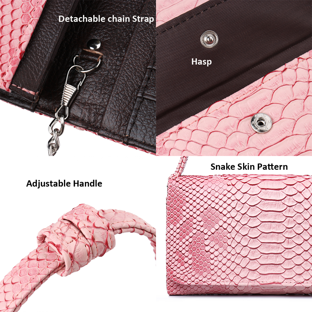 Women Snake Skin Genuine Leather Chain Shoulder Bag