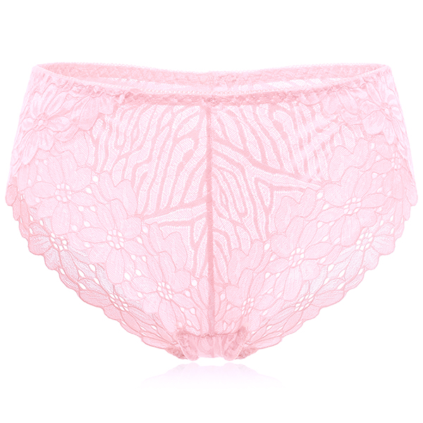 Plus Size L-4XL Mid Waisted Floral Lace Seamless Panties