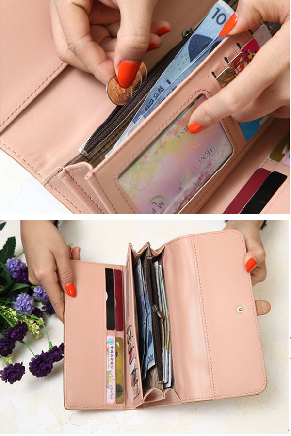 Oil Leather Waxy Long Wallets Vintage Belt 3 Folded Purse Card Holder Coin Bags