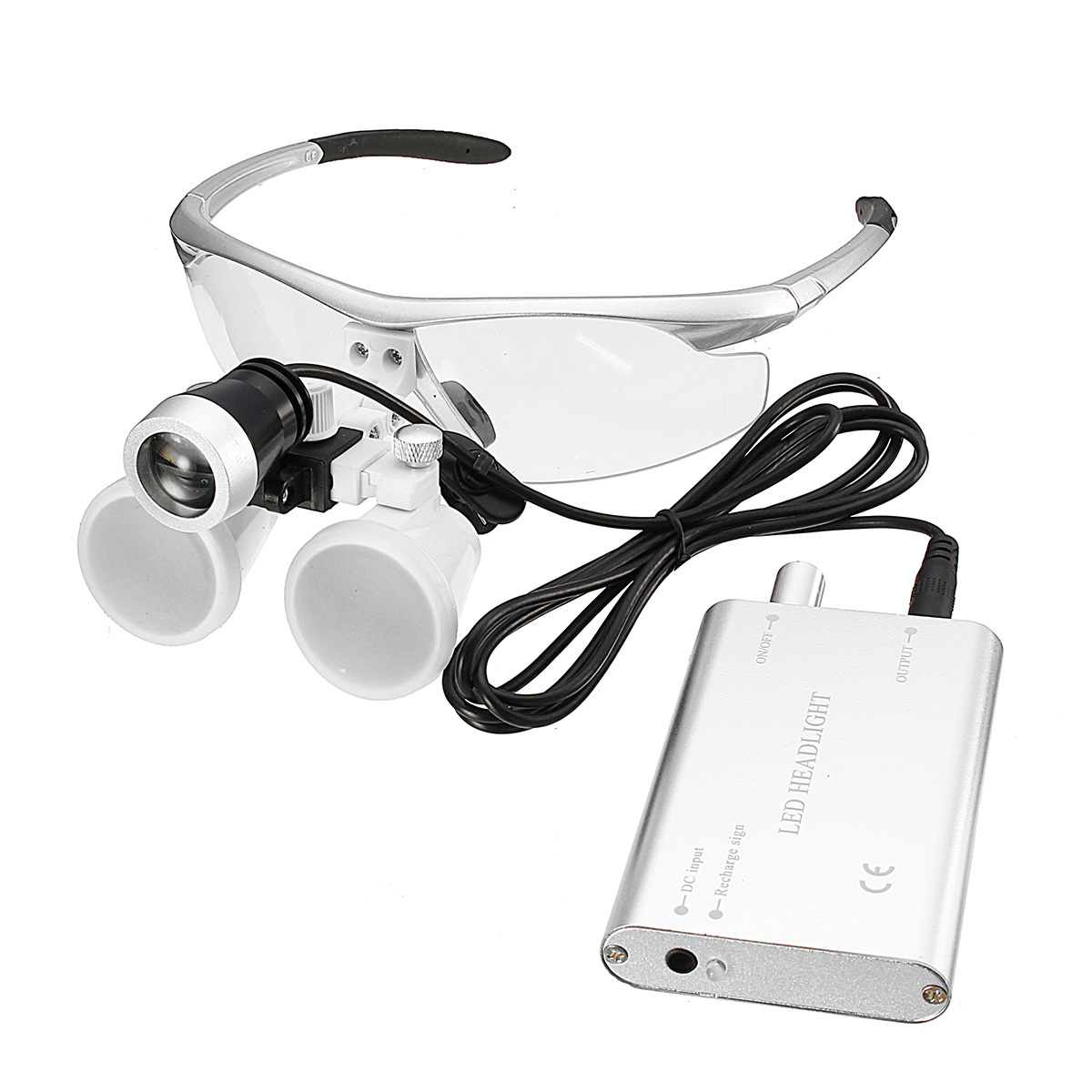 3.5X Dental Surgical Medical Binocular Loupes 420mm LED Head Light Lamp Silver Dental Tools