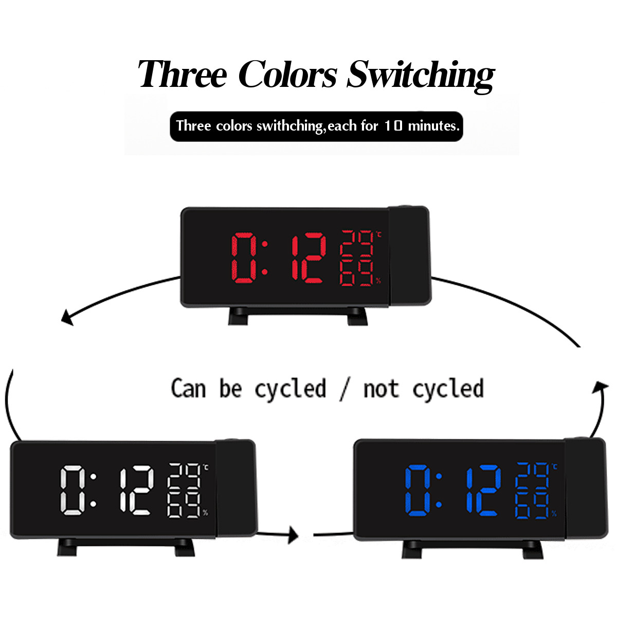 Projection Clock Three-Color FM Radio Alarm Clock LED Temperature Humidity Desk Table Clocks Home Decor